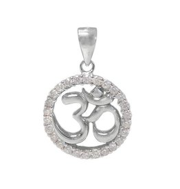 Sterling Silver Om Yoga Rhodium Plated CZ Pendant