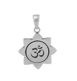 Sterling Silver Om Yoga Rhodium Plated Pendant