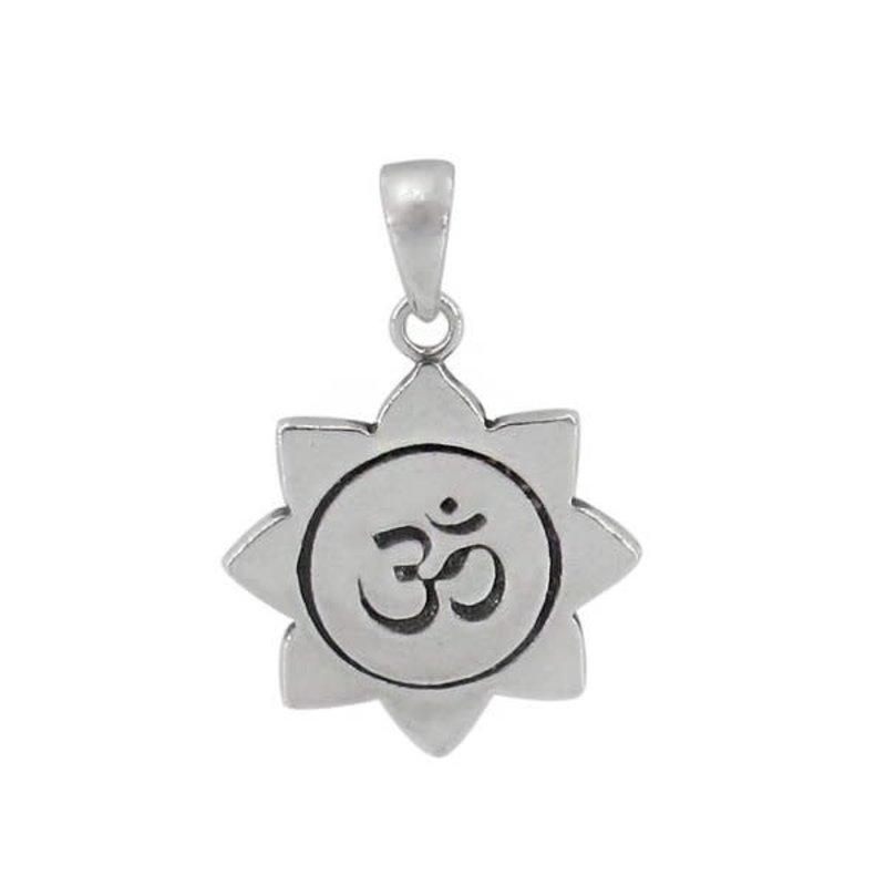 Sterling Silver Om Yoga Rhodium Plated Pendant