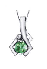 White Gold Emerald and Diamond May Birthstone Pendant
