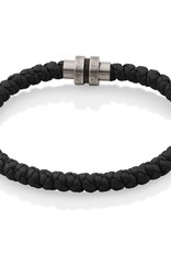 Steelx Steelx Stainless Steel Braided Black Leather Bracelet