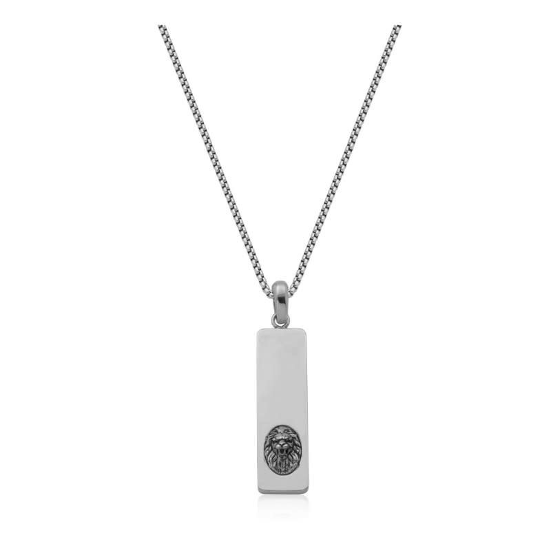 Steelx Stainless Steel Lion Head Dog Tag Necklace