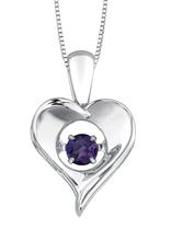 Dancing Birthstone Heart Pendant Sterling Silver Amethyst February