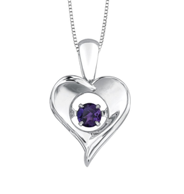 Dancing Birthstone Heart Pendant Sterling Silver Amethyst February