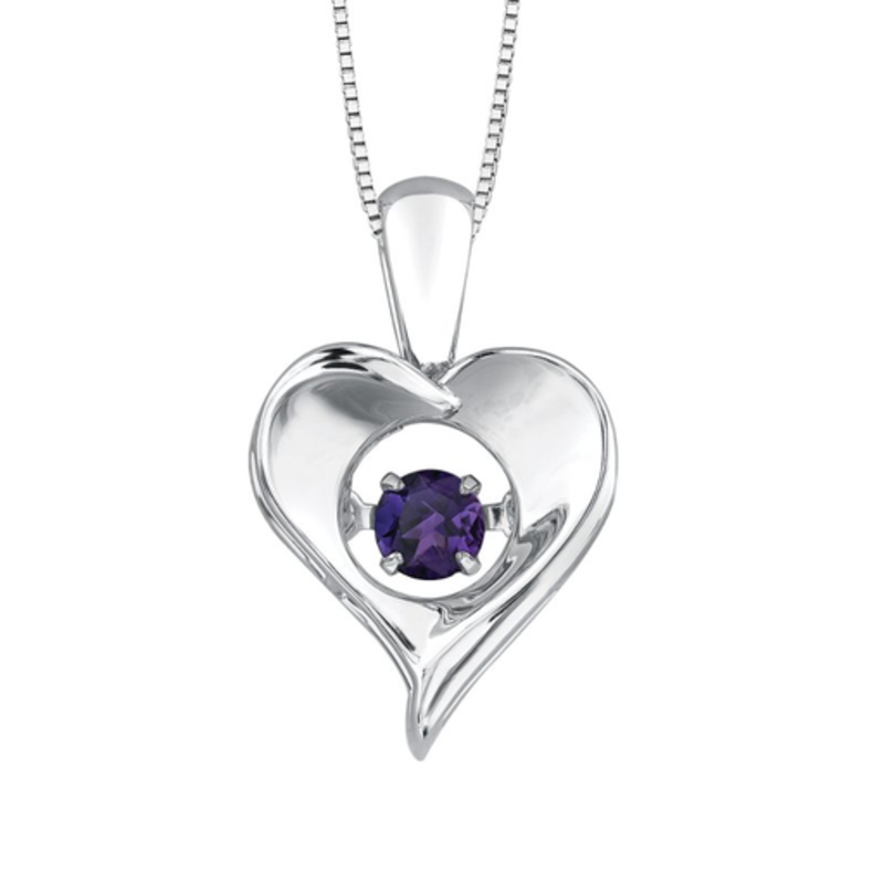 Dancing February Birthstone Heart Pendant Sterling Silver Amethyst