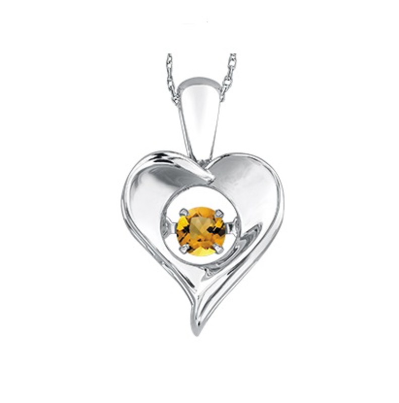 Dancing November Birthstone Heart Pendant Sterling Silver Citrine
