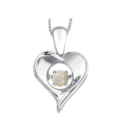 Dancing October Birthstone Heart Pendant Sterling Silver Opal