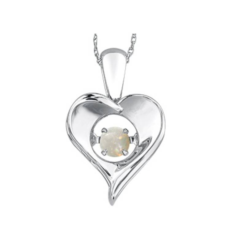 Dancing Birthstone Heart Pendant Sterling Silver Opal October