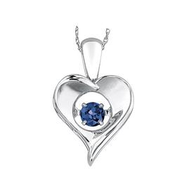 Dancing Birthstone Heart Pendant Sterling Silver Sapphire September