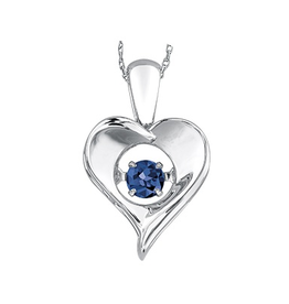 Dancing September Birthstone Heart Pendant Sterling Silver Sapphire
