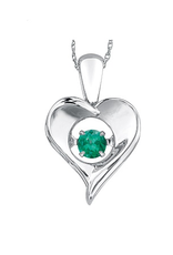 Dancing Birthstone Heart Pendant Sterling Silver Emerald May