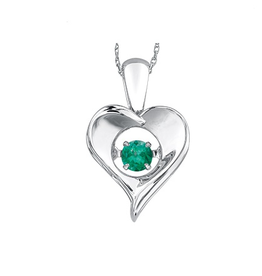 Dancing May Birthstone Heart Pendant Sterling Silver Emerald