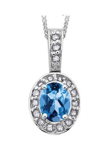 White Gold Blue Topaz and Diamond December Birthstone Pendant