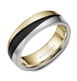 Bleu Royal 14K Bleu Royale Brushed Yellow and White Gold Band with Black Carbon Accents