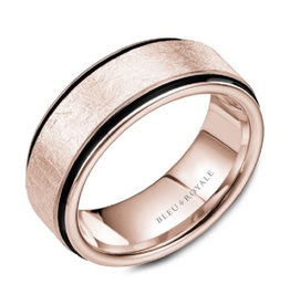 Bleu Royal Diamond Brushed Rose Gold Band with Black Carbon Accents