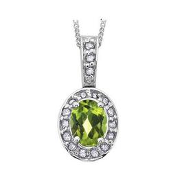 White Gold Peridot and Diamond August Birthstone Pendant