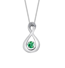 Dancing Birthstone Diamond Infinity Pendant White Gold Emerald May