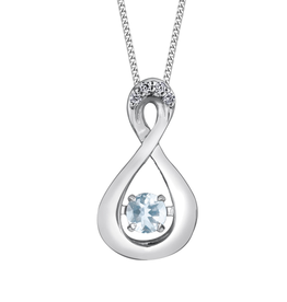 Dancing Birthstone Diamond Infinity Pendant White Gold Aquamarine March