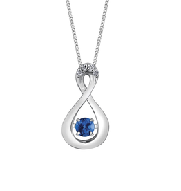 Dancing Birthstone Diamond Infinity Pendant White Gold Sapphire September