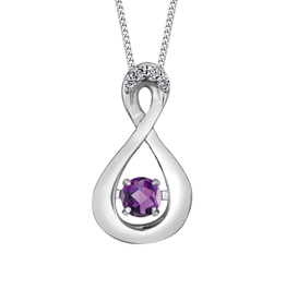 Dancing Birthstone Diamond Infinity Pendant White Gold Amethyst February