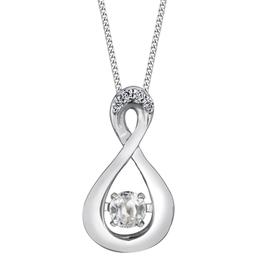 Dancing Birthstone Diamond Infinity Pendant White Gold White Topaz April