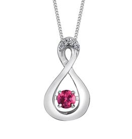 Dancing Birthstone Diamond Infinity Pendant White Gold Pink Topaz June