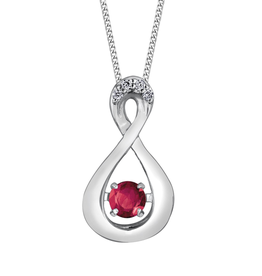 Dancing Birthstone Diamond Infinity Pendant White Gold Ruby July