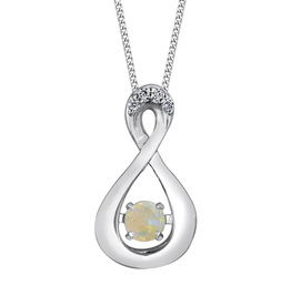 Dancing Birthstone Diamond Infinity Pendant White Gold Opal October