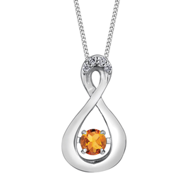 Dancing Birthstone Diamond Infinity Pendant White Gold Citrine November