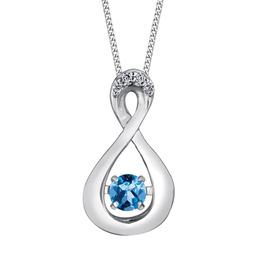 Dancing Birthstone Diamond Infinity Pendant White Gold Blue Topaz December