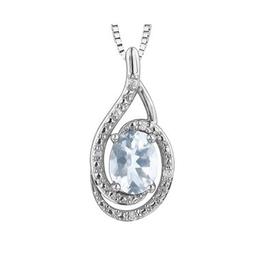 Birthstone Diamond Pendant Sterling Silver Aquamarine March