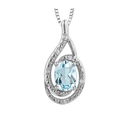 Birthstone Diamond Pendant Sterling Silver Blue Topaz December