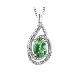 Birthstone Diamond Pendant Sterling Silver Emerald May