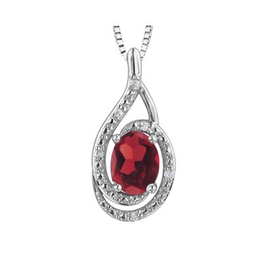 Birthstone Diamond Pendant Sterling Silver Garnet January