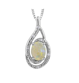 Birthstone Diamond Pendant Sterling Silver Opal October
