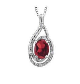Birthstone Diamond Pendant Sterling Silver Ruby July