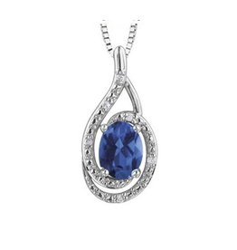 Birthstone Diamond Pendant Sterling Silver Sapphire September