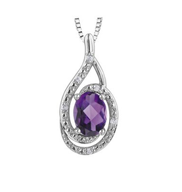Birthstone Diamond Pendant Sterling Silver Amethyst February