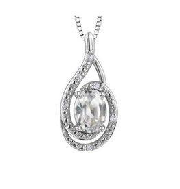 Birthstone Diamond Pendant Sterling Silver White Topaz April