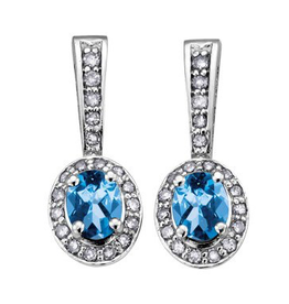 Birthstone Diamond Earrings White Gold Blue Topaz December