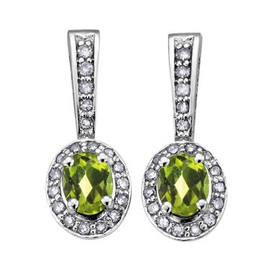 August Birthstone Peridot and Diamond 10K White Gold Earrings