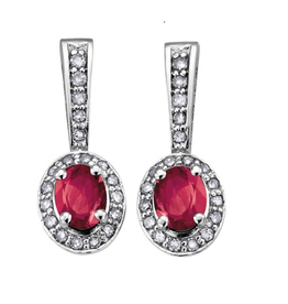 July Birthstone Ruby and Diamond 10K White Gold Earrings