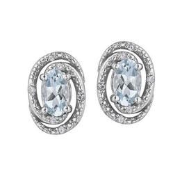 Birthstone Diamond Earrings Sterling Silver Aquamarine March