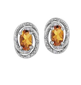 Birthstone Diamond Earrings Sterling Silver Citrine November
