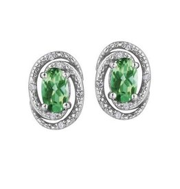 Birthstone Diamond Earrings Sterling Silver Emerald May