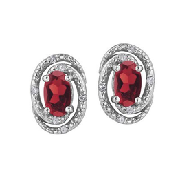 Birthstone Diamond Earrings Sterling Silver Garnet January