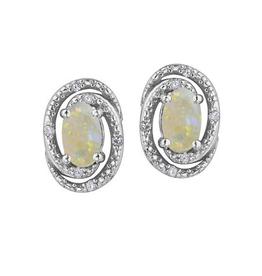 Birthstone Diamond Earrings Sterling Silver Opal October