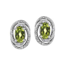 Birthstone Diamond Earrings Sterling Silver Peridot August