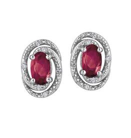 Birthstone Diamond Earrings Sterling Silver Ruby July