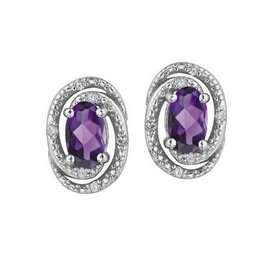 Birthstone Diamond Earrings Sterling Silver Amethyst February